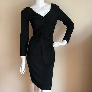 St. John Caviar ruched little black dress